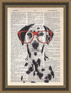 Nerdy dalmation wearing red glasses illustration printed on a vintage dictionary page. Wall Decor. Dalmation Art, Gift Idea, Dog Lovers Gift...