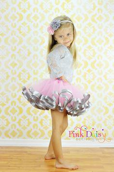 Satin Trim Tutu. Pink and Grey Ribbon Trim Tutu. Birthday Tutu. Photo Prop Tutu. Baby Tutu. Baby Girl Tutu. Flower Girl Tutu. Pageant Skirt. on Etsy, $40.00