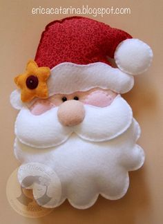 Puffy felt Santa for stocking or wreath Felt Christmas Decorations, Felt Christmas Ornaments, Noel Christmas, Santa Ornaments, Christmas Projects, Felt Crafts, Holiday Crafts, Navidad Diy, 242
