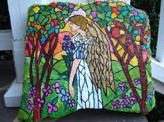 HandPainted Angel Rock in Stained Glass Theme by by tucker24