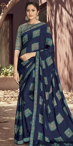 2972eaa63 Pretty Blue And Multi-Color Georgette Silk Saree.This Wonderful Georgette  Silk Saree has