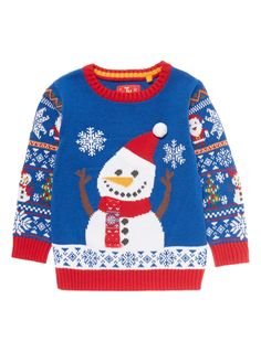 Make a fun addition to your little one's winter collection with this cotton snowman knit, which features a festive fairisle print and a faux fur details. Boys multicoloured Christmas snowman knit Pure cotton Fairisle knit Snowman design Textured applique Pom pom detail Ribbed trims Keep away from fire Christmas Snowman, Ugly Christmas Sweater, Holiday Sweaters, Baby Kids, Baby Boy, Texture Design, Winter Collection, Little Ones, Knitwear