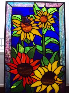 sunflowers and butterfly stained glass; etsy  $600