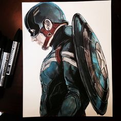 My watercolor of Captain America in his iconic S.T.E.A.L.T.H suit and shield. Prints available upon request. If you repin it please credit me. Thanks