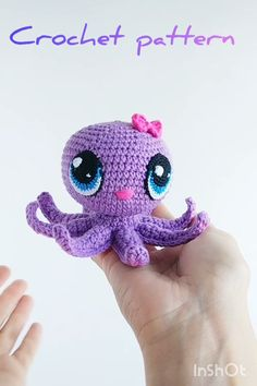CROCHET PATTERN Little Octopus with big eyes – Amigurumi baby octopus PDF pattern – Knitted Sea creatures tutorial – Crochet Sea animal – Happy Tiere Crochet Eyes, Crochet Motifs, Crochet Patterns Amigurumi, Cute Crochet, Crochet Dolls, Knitting Patterns, Owl Patterns, Free Knitting, Knit Crochet