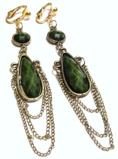 4 Gold Plated Two Emerald Green Beaded Three Chain Dangle by ADKOR, $5.99