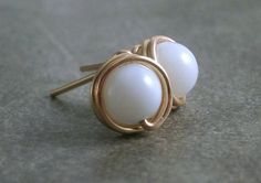 Blue Opal Studs Gold Filled Wire Wrapped Studs by RuthAndJack