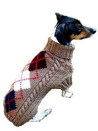 Hand Knit Argyle Dog Sweater Brown or Brown-dog sweater for small breed dogs...gorgeous!