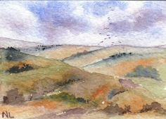 ACEO Miniature Card Original Watercolour -  Yorkshire Moorland - England
