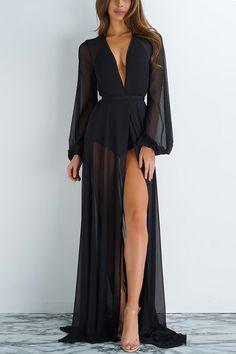 V-neck Pure Color Irregular Long Dress