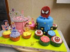 Cake twins, spiderman, princess