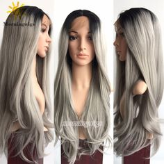 Cheap hair wigs, Buy Quality hair sense lace front wigs directly from China wig stand Suppliers: 2016 Hot Selling Ombre Silver Grey Natural Straight Synthetic Lace Front Wigs Glueless Long Black Grey Heat Resis