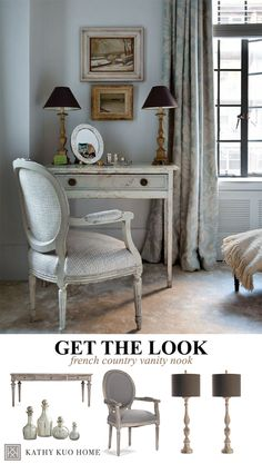 French Country Decor Vanity #KathyKuoHome   #FrenchCountryDreamRoom