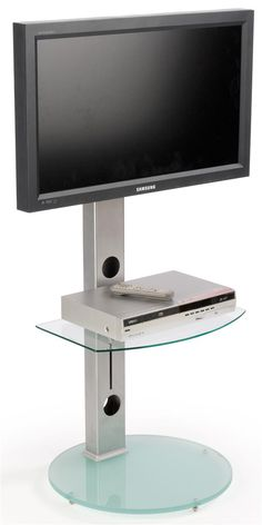 """TV Stand for Floor with Adjustable Glass Shelf, Fits Monitors 37""""-70"""" - Silver"""