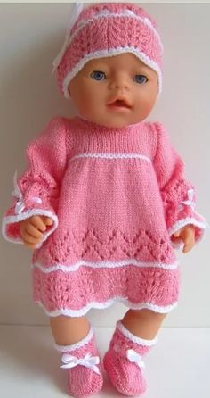 Baby born doll knitting free pattern ideas for 2019 Knitting Dolls Clothes, Crochet Doll Clothes, Knitted Dolls, Doll Clothes Patterns, Clothing Patterns, Baby Born Clothes, Trendy Baby Clothes, Girl Doll Clothes, Baby Born Kleidung