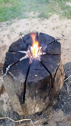 If you have access to a chainsaw some dry softwood and a Swede here's a great way to make a self-contained camp fire with integrated pot supports!