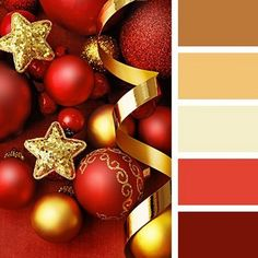 This palette can be called hot due to the combination of very warm colours in it. Dark burgundy and brick red shades on the background of warm sand colour Gold Color Palettes, Colour Pallette, Color Combinations, Christmas Palette, Christmas Colors, Gold Christmas, Christmas Colour Palette, Winter Christmas, Christmas Ornaments