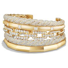 David Yurman Stax Five Row Cuff Bracelet with Diamonds in 18K Gold,... ($65,000) ❤ liked on Polyvore featuring jewelry, bracelets, 18k bangle, diamond jewelry, gold diamond bangle, cuff bracelet and 18 karat gold jewelry