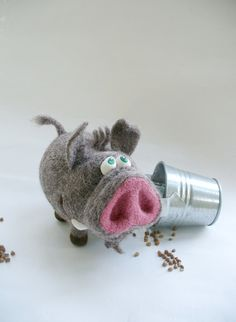 Needle Felted Toy - Pig - Boar- Felt Toys.