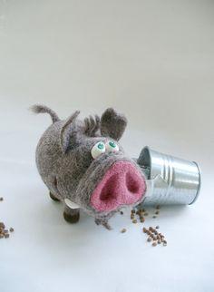 Needle Felted Toy - Pig - Boar- Felt Toys.