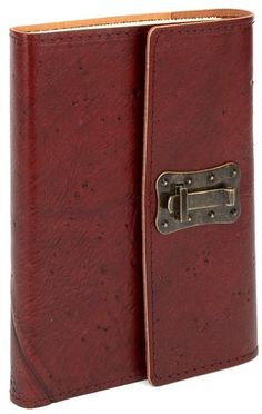 "My, how Jonathan Harker | Wood-texture brown Italian leather journal with lock (6""x8"")"