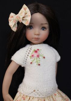 "Handmade Embroidered Knit Outfit for Effner 13"" Little Darling Dolls"