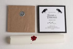 Game of Thrones party invitations. Perfect for a premiere and viewing party! From Annie Taylor Design, a unique stationery shop. Game Of Thrones Birthday, Game Of Thrones Theme, It's Your Birthday, Birthday Party Themes, Themed Parties, 30th Birthday, Medieval Party, Got Party, Invitation Card Design
