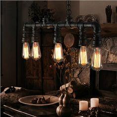 (EU Lager)Vintage Pendelleuchte Metall Wasserrohr Design 5-flammig