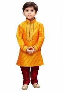 Vastramay Boy's Cotton Silk Embroidered Kurta and Pyjama Set in Orange Kids Kurta Pajama, Boys Kurta, Boys Pajamas, Ethnic Dress, Embroidered Silk, Mandarin Collar, Indian Ethnic, Cotton Silk, Kids Wear