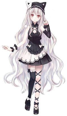 Manga fille - cheveux blancs - gothique - chapeau neko