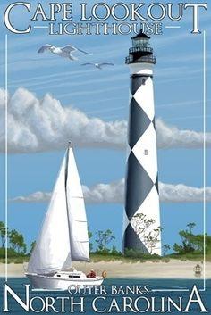 Cape Lookout Lighthouse -  North Carolina - Lantern Press