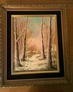 Vintage Winter Landscape Trees Roberti Signed Painting/ Sills Gallery Tag NICE! #Vintage Beautiful Landscape Paintings, Abstract Landscape Painting, Forest Landscape, Winter Landscape, Vintage Landscape, Vintage Winter, Winter Scenes, Painted Signs, Oil Painting On Canvas