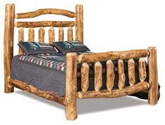 Amish Log Extra Rail Bed Gorgeous log bed to keep you cozy and comfy! You can customize and add 6 storage drawers underneath the bed. Built in Amish country in choice of rustic aspen, pine or cedar wood.