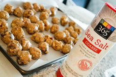 Sweet & Salty energy balls! So easy and perfect before a workout or a quick breakfast.   1.5 cups old fashioned oatmeal 3/4 cup vanilla protein powder  1/2 cup unsweetened coconut flakes 1/2 cup almonds 1/2 cup cashews  1/2 cup sunflower seeds 15 medjool dates 1.5 cups peanut butter 1/2 cup honey (a little more or less may be necessary) 2 teaspoons vanilla extract Coarse Sea Salt