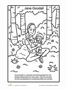 jane goodall coloring page