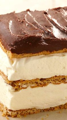 """Our Graham Cracker Eclair """"Cake"""" is a spectacular no-bake dessert recipe - no oven required and no baking skills required! Just mix, layer and chill - then serve up a delectable dessert for a crowd! Kraft Recipes, Pie Recipes, Dessert Recipes, No Bake Desserts, Just Desserts, Delicious Desserts, Dessert Salads, Pie Dessert, Cream Cheese Pound Cake"""