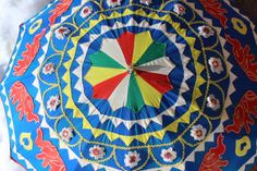 Set of 2 Vintage Made In India Indian Parasol Umbrella with Elephants Set of Two Red and Blue Ceremonial