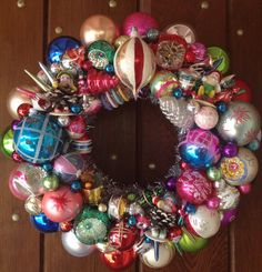 Christmas Wreath Vintage Ornaments and 3 Tiny by RetroWreaths, $185.00
