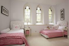 Contemporary Guest Bedroom with Stained glass window, Cooley Mission Night Stand - White, Pink Princess Crown Pillow
