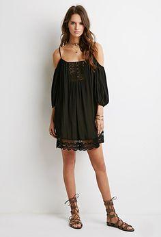 Crochet-Paneled Open-Shoulder Dress | Forever 21 - 2049257354