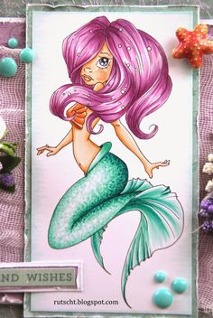 Copic Marker Europe: Dreams and Wishes. Tail: BG10, BG11, BG23, BG49. Hair: V01, V06, V12, RV66. Skin: E11, E00, E000 and chest: E93. Background: BG10 Shell: E93, E97.
