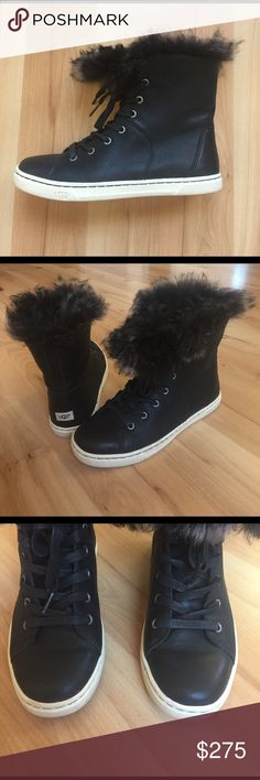 UGG Leather Toscana Trimmed Hi-Tops Size 6. Very gently used, worn maybe 2-3 times. No rips, scuffs, or flaws. Leather outer. Stunning super soft and warm Toscana fur trim. UGG Shoes Winter & Rain Boots