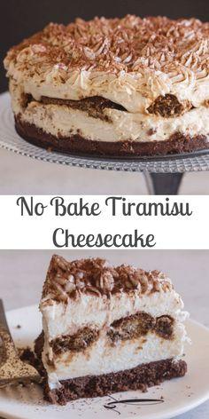 A creamy no bake Tiramisu Cheesecake Classic Tiramisu meets cheesecake works perfectly and tastes even better! The perfect dessert idea. The post No Bake Tiramisu Cheesecake appeared first on Orchid Dessert. Banana Pudding Cheesecake, Cheesecake Desserts, No Bake Desserts, Easy Desserts, Delicious Desserts, Cheesecake Bites, Tiramisu Dessert, Best Tiramisu Cheesecake Recipe, Cheesecake Squares