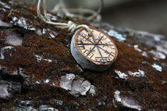 Cherry Vegvísir Woodburned Amulet - Icelandic Compass / Viking / Primitive / Rustic