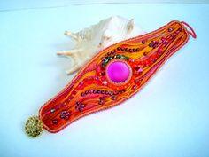 Bead embroidery bracelet with shibori silk, Lunasoft cabochon, swarovski and O beads on Etsy, $106.97 AUD