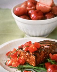 GRILLED TUNA WITH BALSAMIC GLAZE    A wine and balsamic vinegar glaze causes these tuna steaks to turn dark and deliciously charred. Grilled green beans make a bed with a slight crunch, while tomatoes and basil are a fresh topping. http://www.marthastewart.com/316621/grilled-tuna-with-balsamic-glaze?czone=food/fish-and-shellfish/fish-varieties=344318=343354=284836