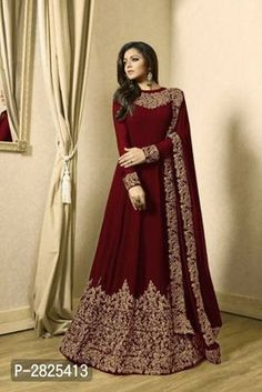 Samaira Fashionable Suits & Dress Materials Vol 4 *TOP*: Faux Georgette + Embroidery ( Bust Size - Up to 46 in, Length - 56 in, Flair -. Womens Fashion Casual Summer, Curvy Women Fashion, Womens Fashion For Work, Designer Anarkali, Designer Gowns, Designer Wear, Designer Kurtis, Anarkali Gown, Lehenga