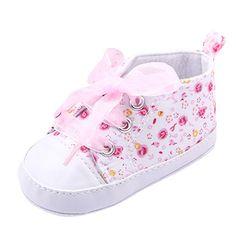 Weixinbuy Baby Girl's Floral Prewalker Soft Sole Ribbon Non-slip Sneaker SZ12
