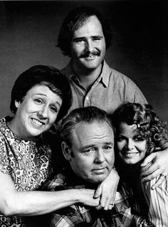 All in the Family, starring Carroll O'Connor, Jean Stapleton, Rob Reiner and Sally Struthers, 1971-79