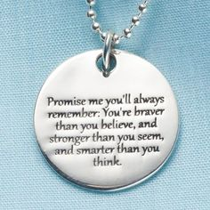 Gift Idea for Ashley Heath Promise Me Christopher Robin Quote Pendant - Sterling Silver Engraved Necklace Great Quotes, Me Quotes, Inspirational Quotes, Mommy Quotes, Inspirational Jewelry, Qoutes, Funny Quotes, Daughter Quotes, To My Daughter